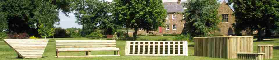 Equijump portable cross country jumps at Clattercote Farm, UK